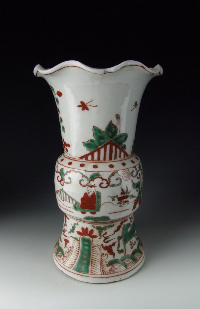 Chinese Antique Pair of Five-Colored Porcelain Gu-shaped Vase  eBay